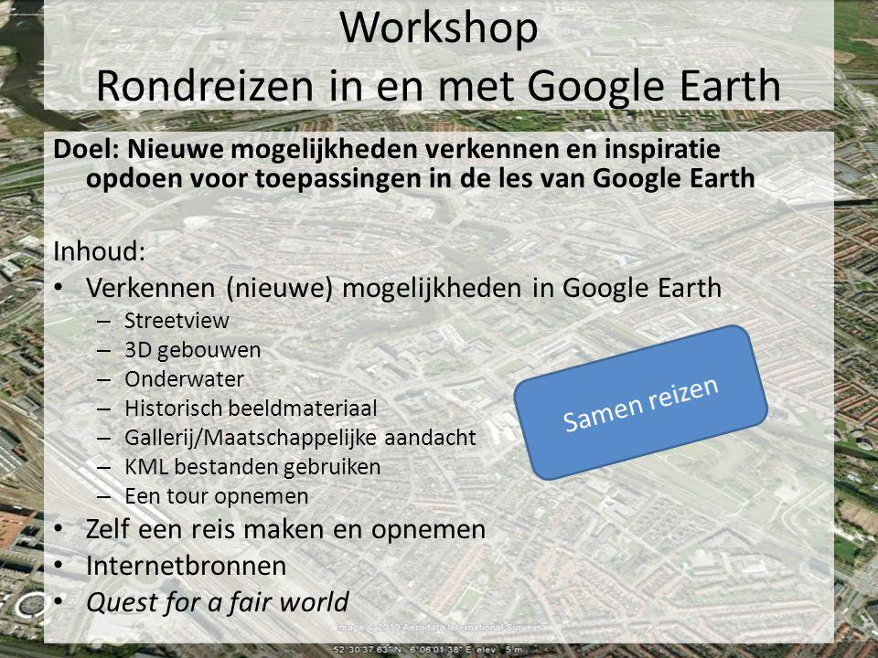 Workshop Rondreizen in en met Google Earth