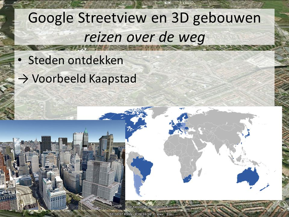 Google Streetview en 3D gebouwen reizen over de weg