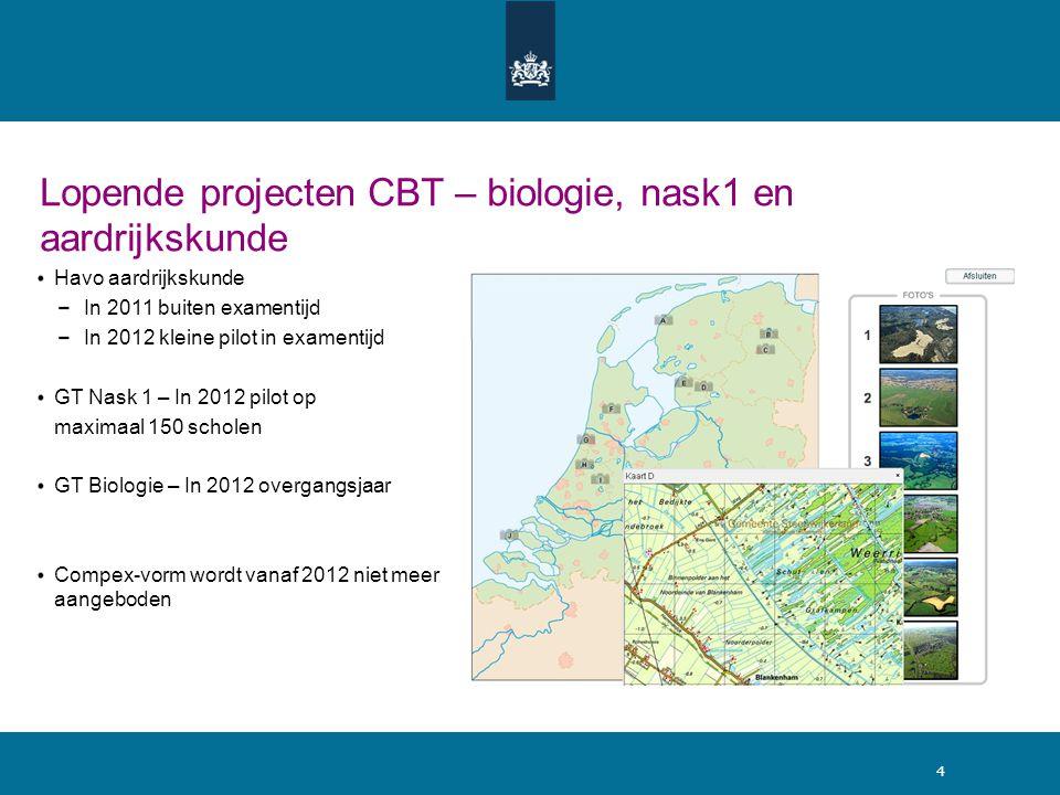 Lopende projecten CBT – biologie, nask1 en aardrijkskunde