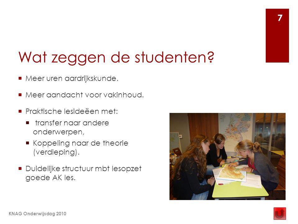 Wat zeggen de studenten