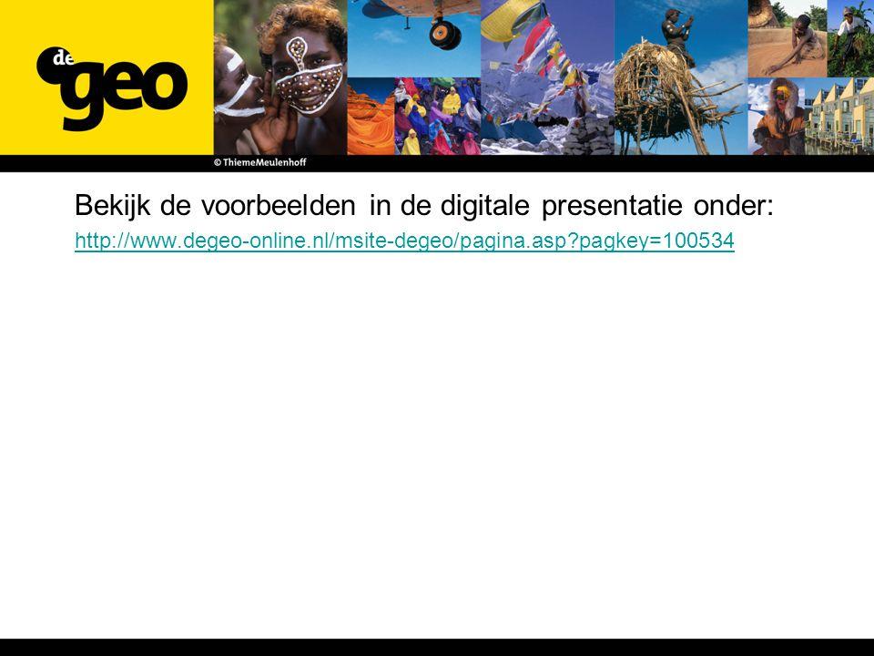 Bekijk de voorbeelden in de digitale presentatie onder: