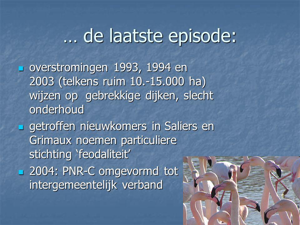 … de laatste episode: overstromingen 1993, 1994 en 2003 (telkens ruim 10.-15.000 ha) wijzen op gebrekkige dijken, slecht onderhoud.