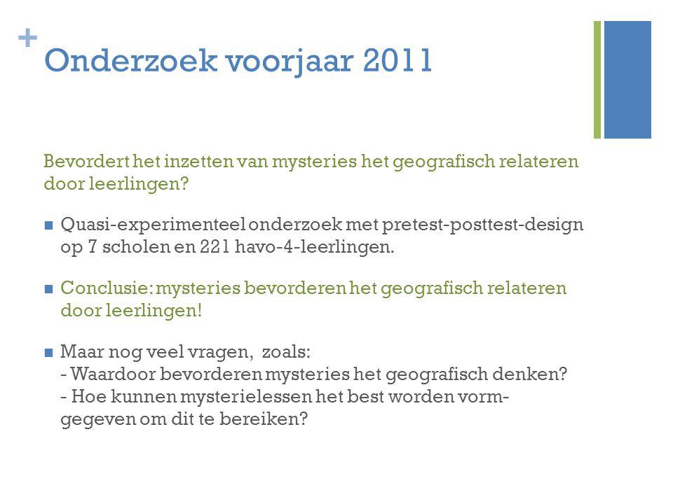 Onderzoek voorjaar 2011 Bevordert het inzetten van mysteries het geografisch relateren door leerlingen