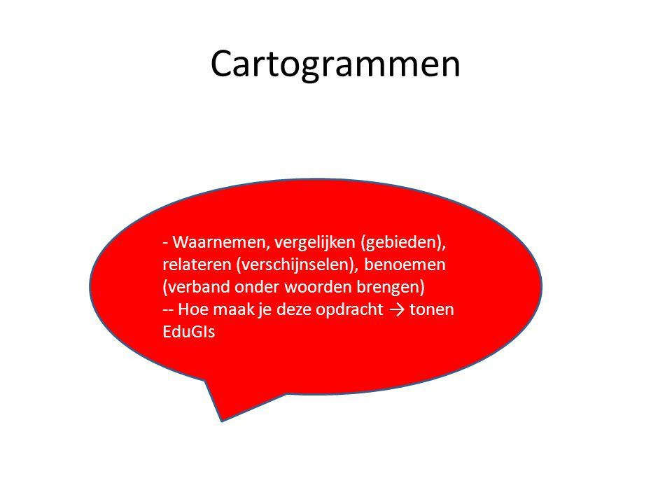 Cartogrammen Waarnemen, vergelijken (gebieden), relateren (verschijnselen), benoemen (verband onder woorden brengen)