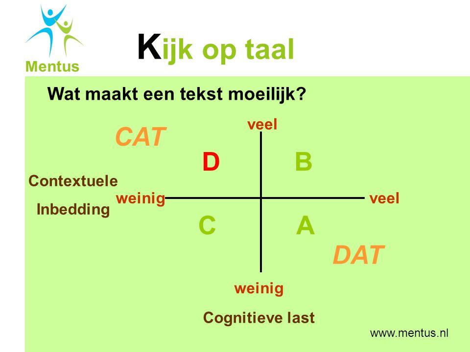 CAT D B C A DAT Wat maakt een tekst moeilijk veel Contextuele