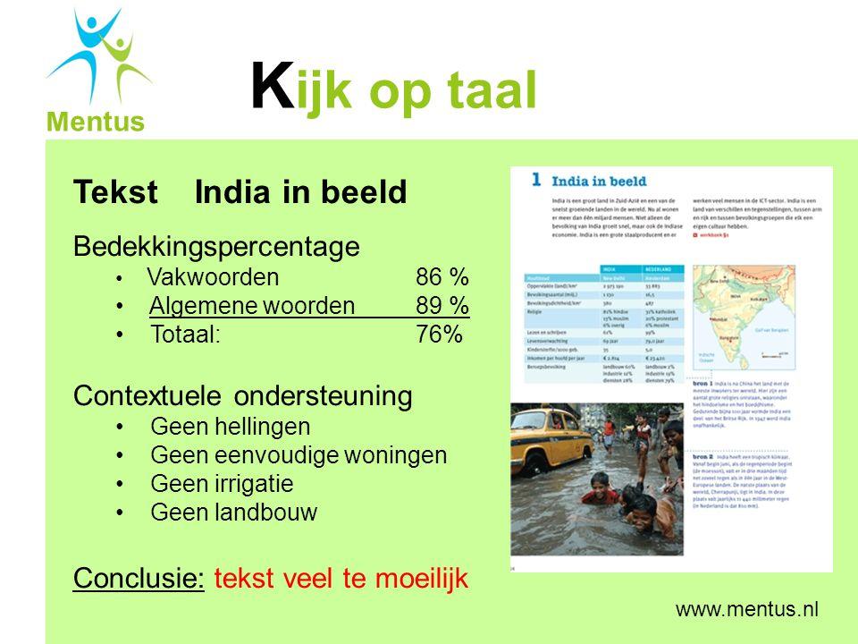 Tekst India in beeld Bedekkingspercentage Contextuele ondersteuning