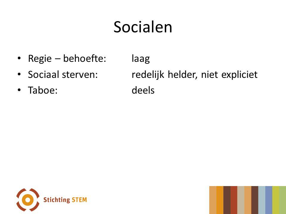 Socialen Regie – behoefte: laag