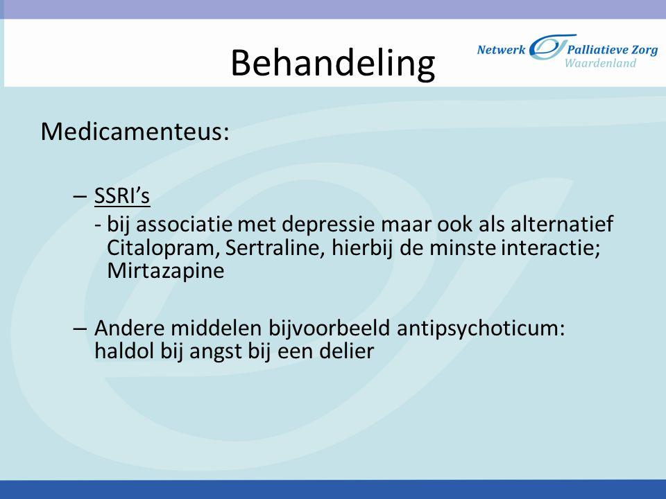 Behandeling Medicamenteus: SSRI's