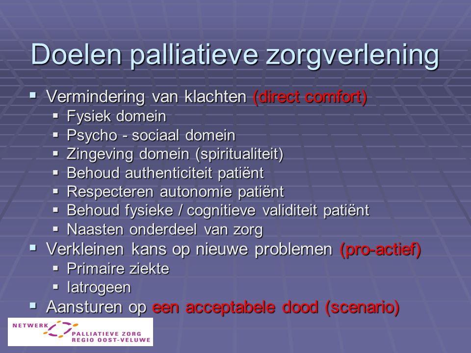 Doelen palliatieve zorgverlening