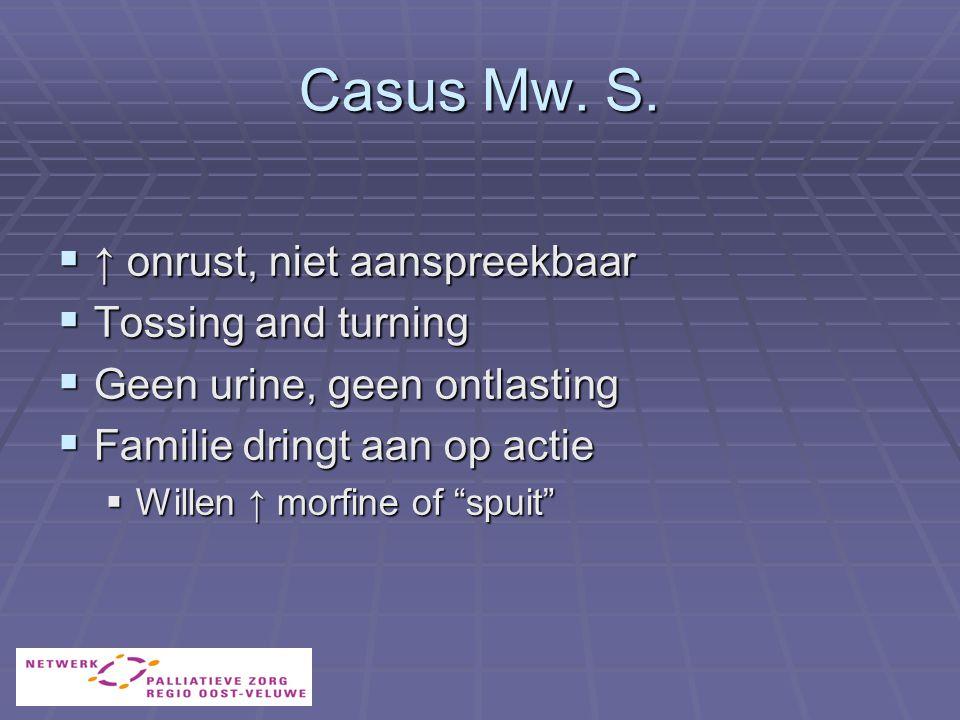 Casus Mw. S. ↑ onrust, niet aanspreekbaar Tossing and turning