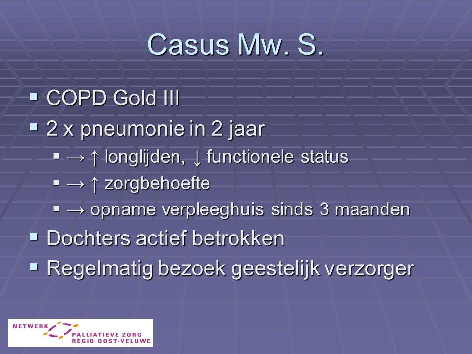 Casus Mw. S. COPD Gold III 2 x pneumonie in 2 jaar