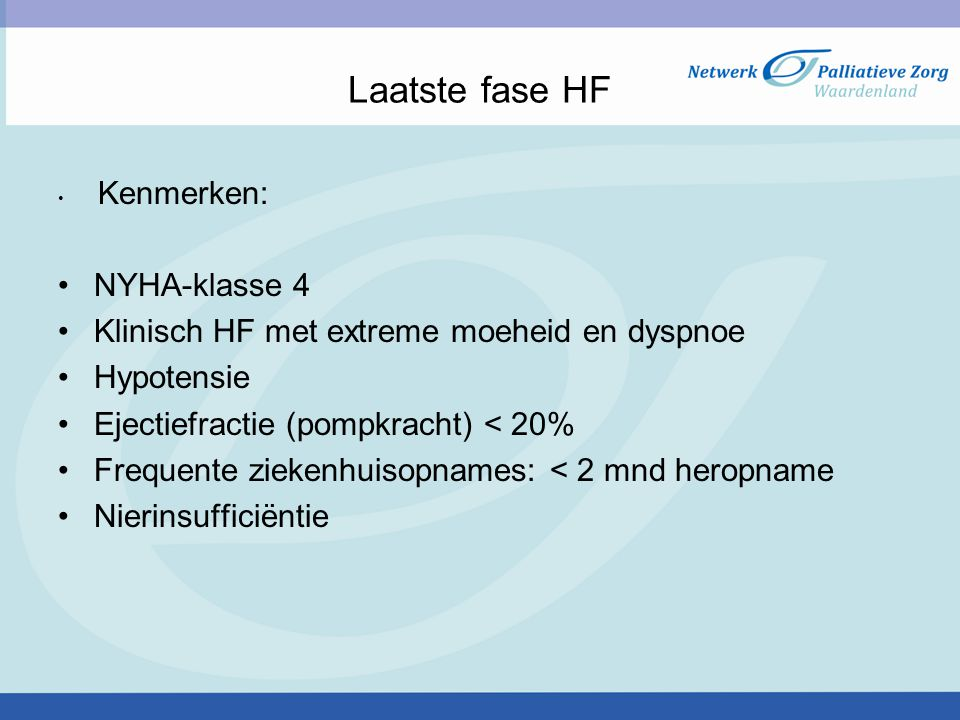 Laatste fase HF NYHA-klasse 4