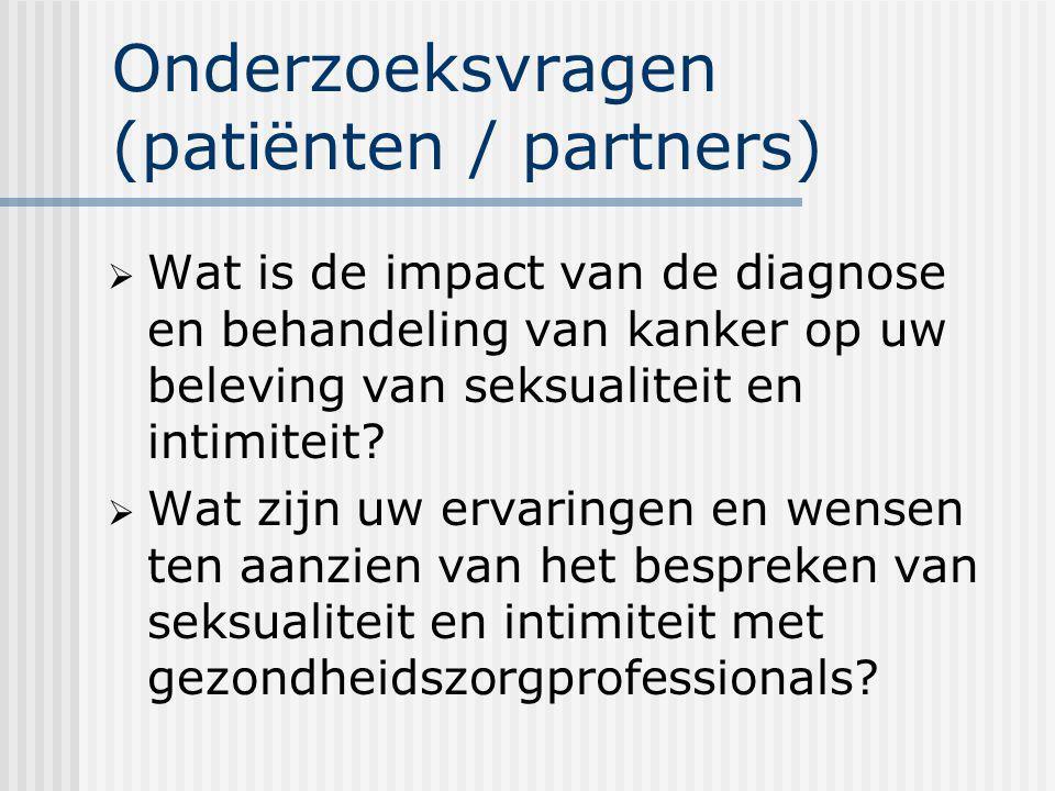 Onderzoeksvragen (patiënten / partners)