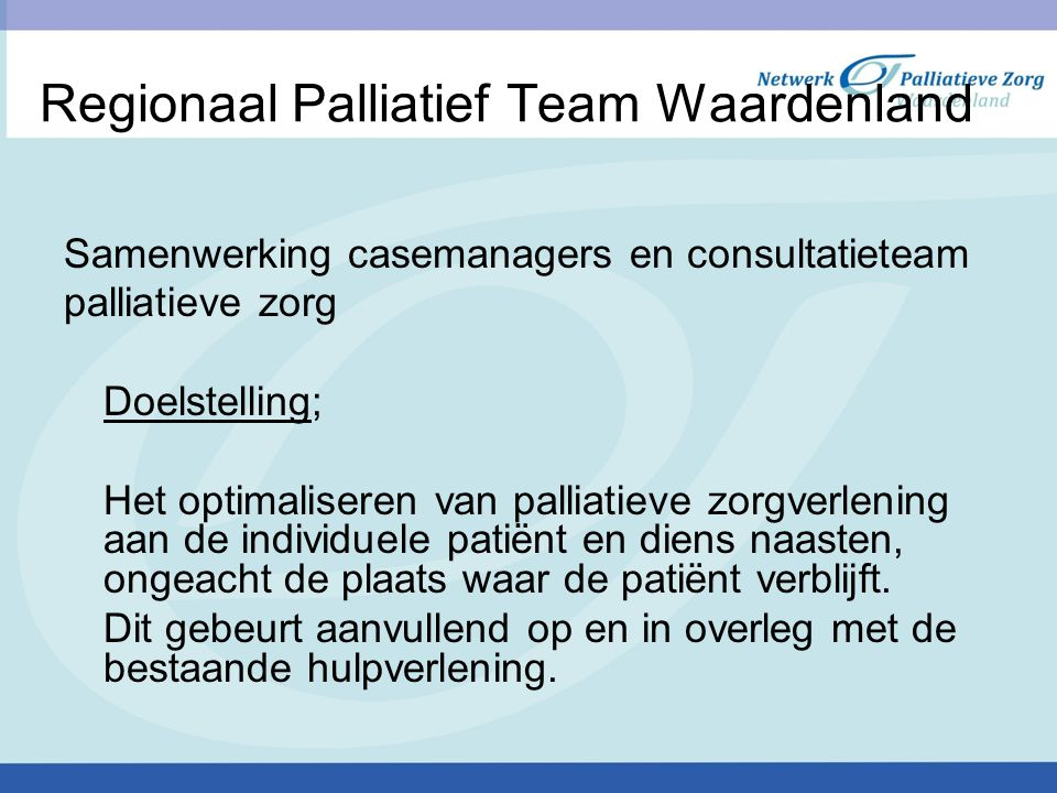 Regionaal Palliatief Team Waardenland