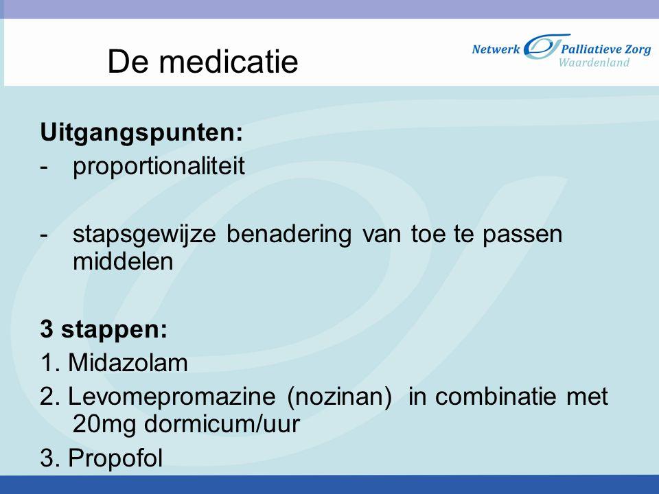 De medicatie Uitgangspunten: proportionaliteit
