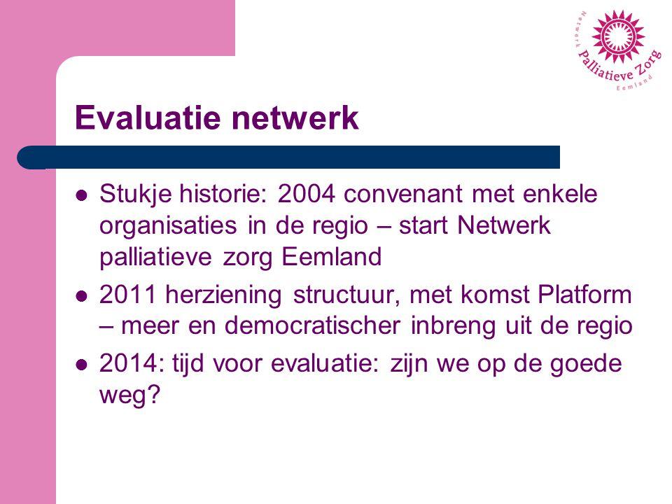 Evaluatie netwerk Stukje historie: 2004 convenant met enkele organisaties in de regio – start Netwerk palliatieve zorg Eemland.