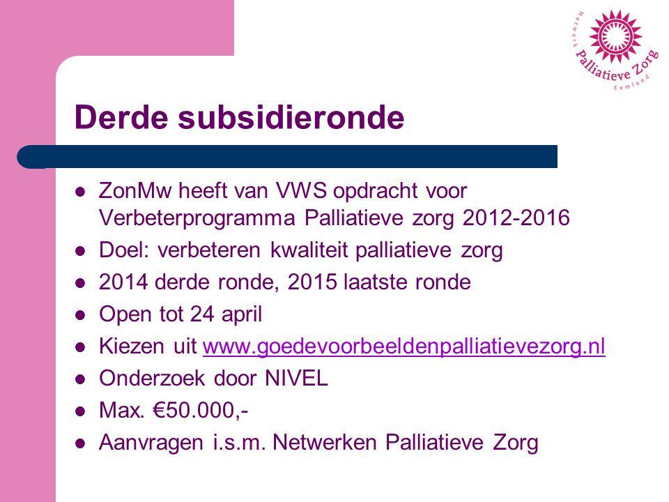 Derde subsidieronde ZonMw heeft van VWS opdracht voor Verbeterprogramma Palliatieve zorg 2012-2016.