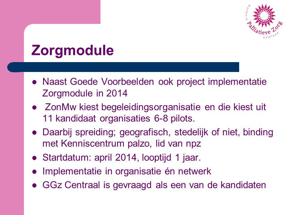 Zorgmodule Naast Goede Voorbeelden ook project implementatie Zorgmodule in 2014.