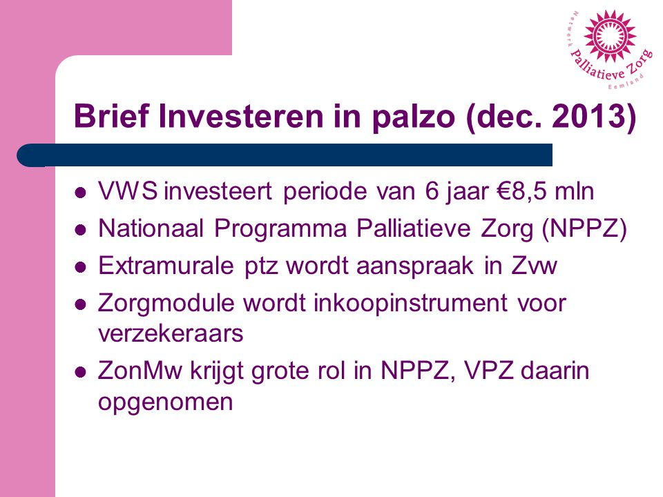 Brief Investeren in palzo (dec. 2013)