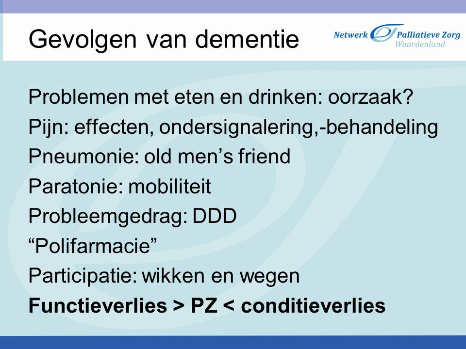 Gevolgen van dementie Problemen met eten en drinken: oorzaak