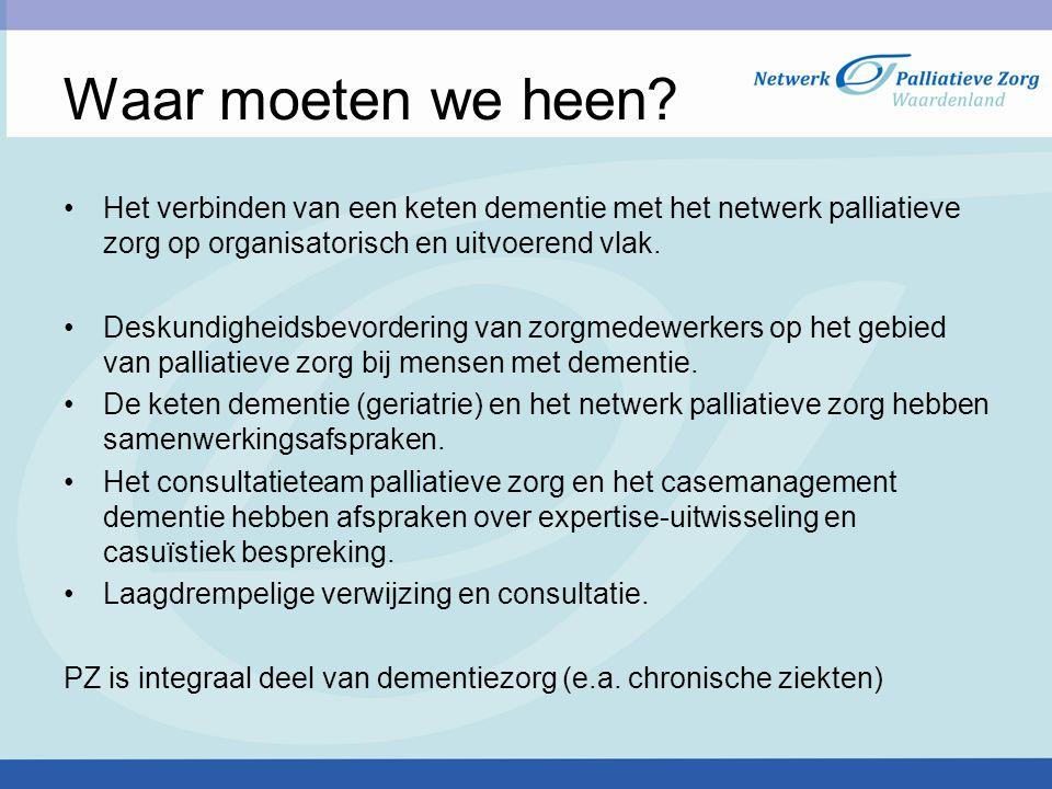 Waar moeten we heen Het verbinden van een keten dementie met het netwerk palliatieve zorg op organisatorisch en uitvoerend vlak.