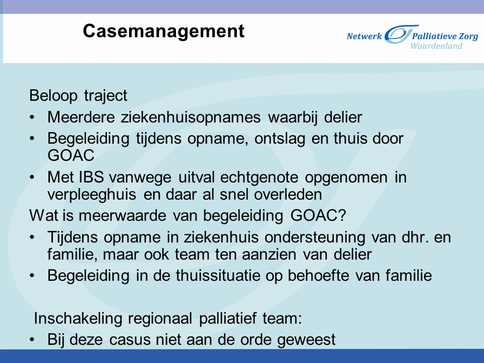 Casemanagement Beloop traject