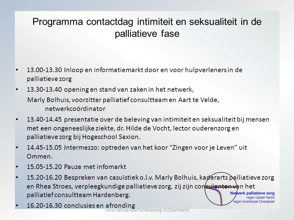 Programma contactdag intimiteit en seksualiteit in de palliatieve fase