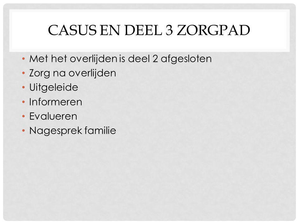 Casus en deel 3 zorgpad Met het overlijden is deel 2 afgesloten