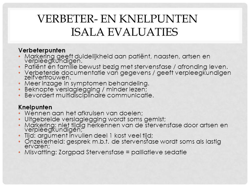 Verbeter- en knelpunten Isala evaluaties