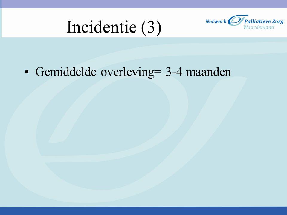 Incidentie (3) Gemiddelde overleving= 3-4 maanden