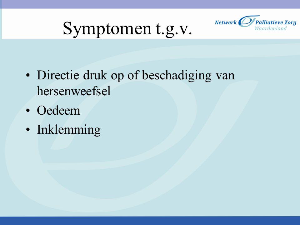 Symptomen t.g.v. Directie druk op of beschadiging van hersenweefsel
