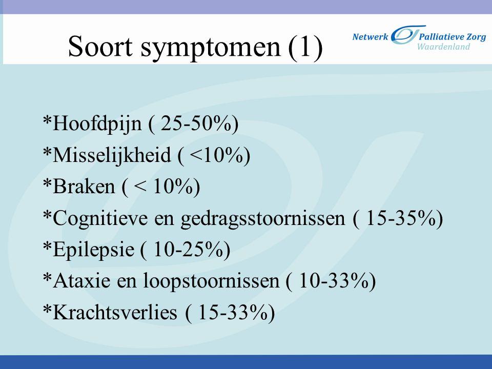 Soort symptomen (1) *Hoofdpijn ( 25-50%) *Misselijkheid ( <10%)