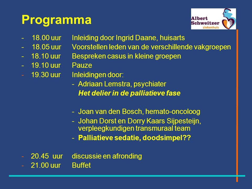 Programma - 18.00 uur Inleiding door Ingrid Daane, huisarts