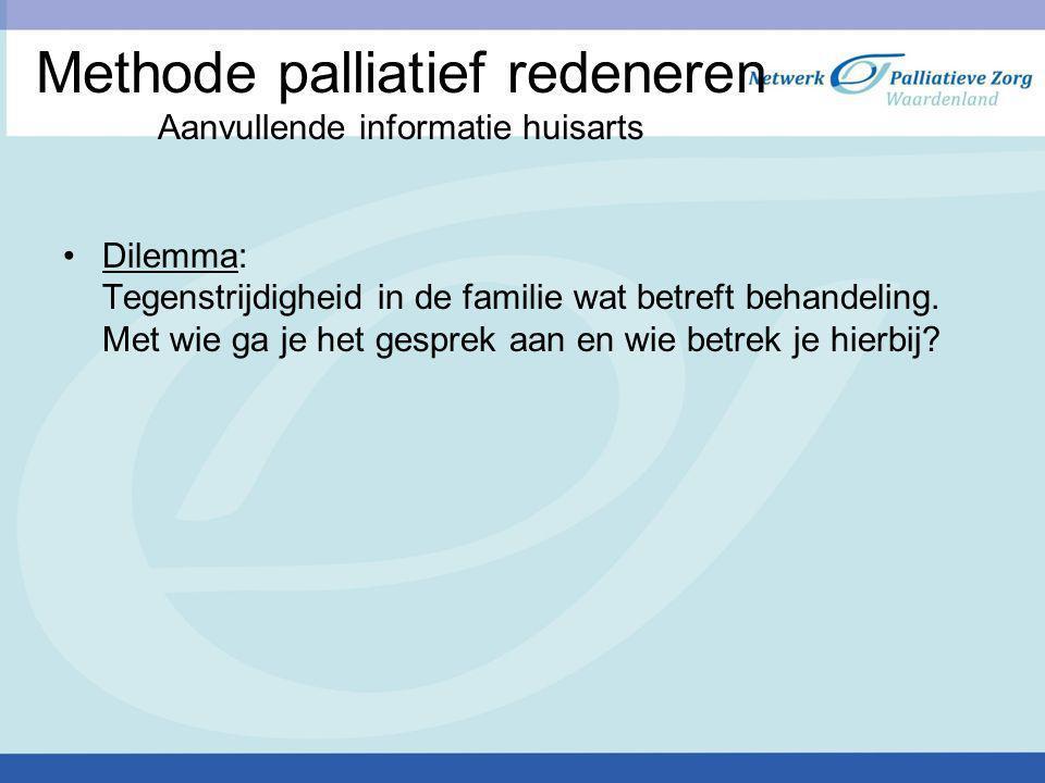 Methode palliatief redeneren Aanvullende informatie huisarts
