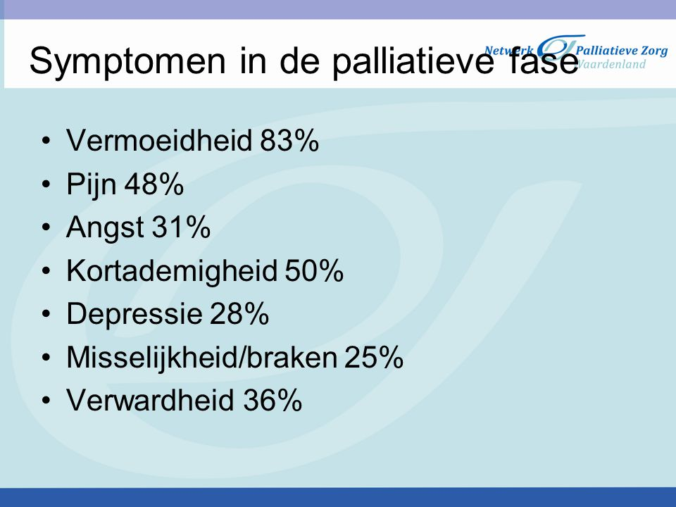 Symptomen in de palliatieve fase