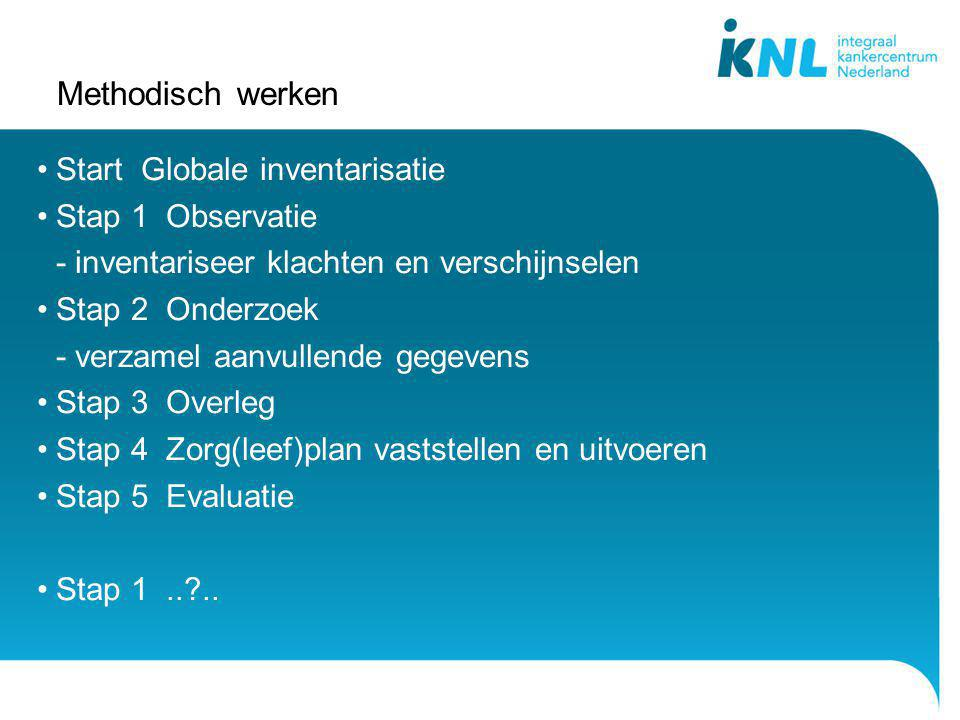 Methodisch werken Start Globale inventarisatie Stap 1 Observatie