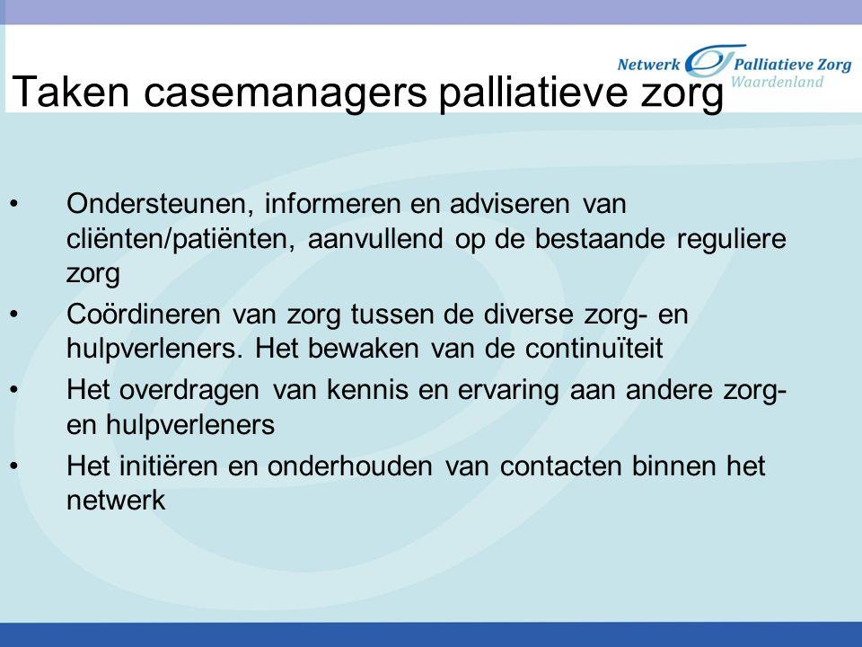 Taken casemanagers palliatieve zorg