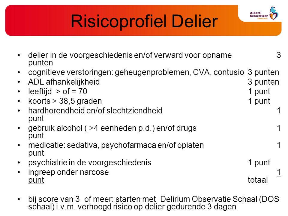 Risicoprofiel Delier delier in de voorgeschiedenis en/of verward voor opname 3 punten.