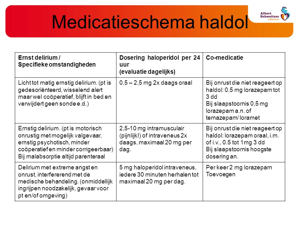 Medicatieschema haldol