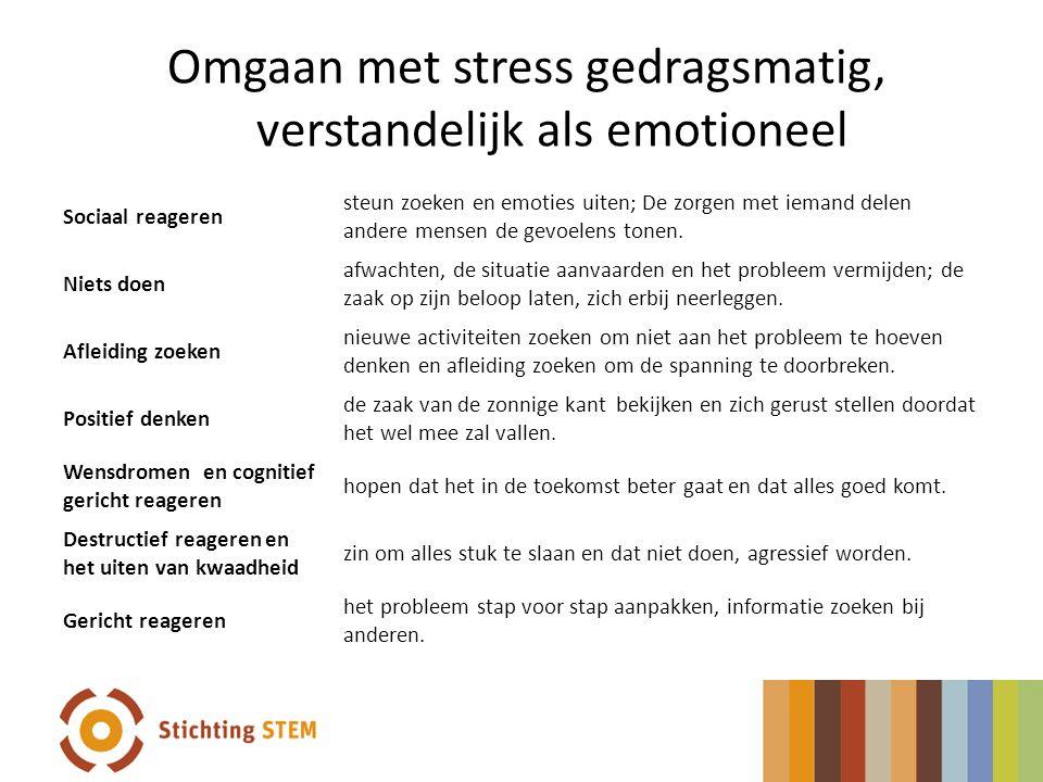 Omgaan met stress gedragsmatig, verstandelijk als emotioneel