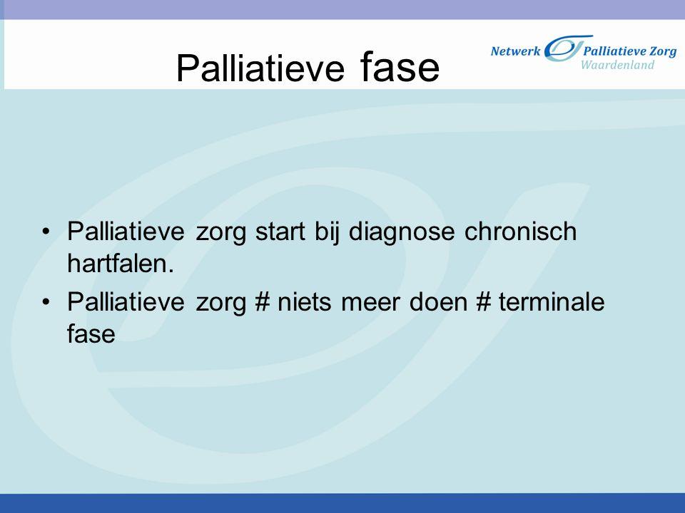 Palliatieve fase Palliatieve zorg start bij diagnose chronisch hartfalen.