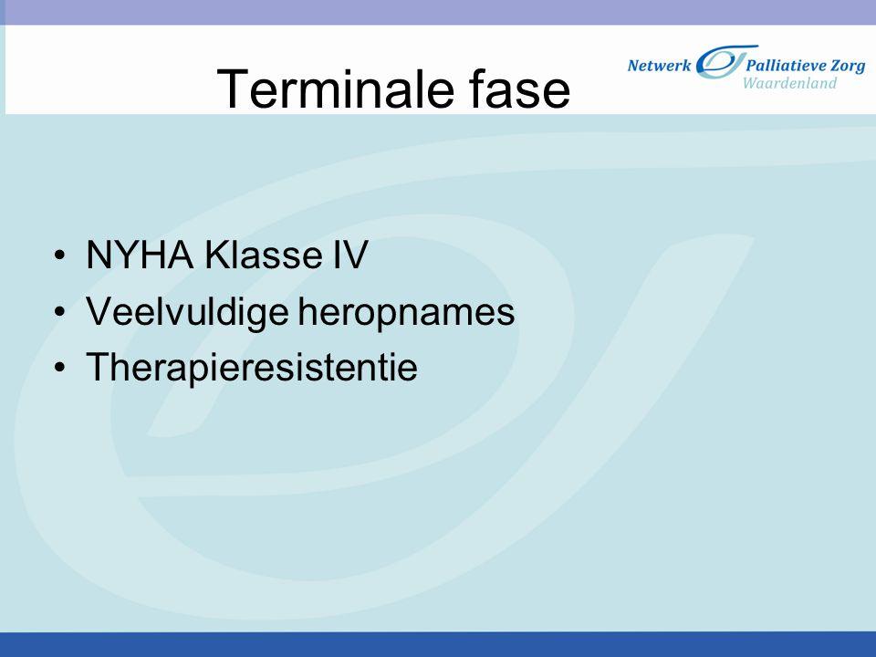 Terminale fase NYHA Klasse IV Veelvuldige heropnames