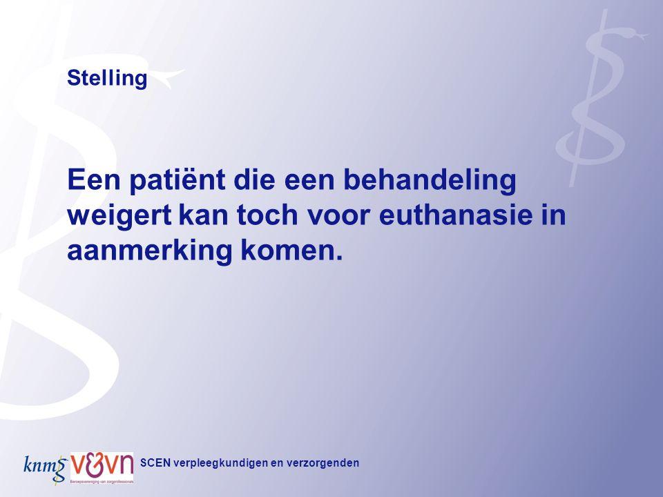 Stelling Een patiënt die een behandeling weigert kan toch voor euthanasie in aanmerking komen. Titel kopje.