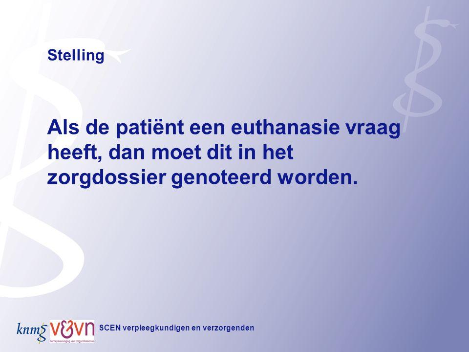 Stelling Als de patiënt een euthanasie vraag heeft, dan moet dit in het zorgdossier genoteerd worden.