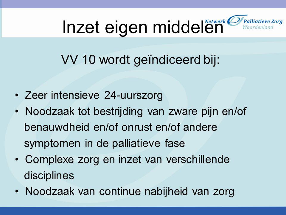 VV 10 wordt geïndiceerd bij:
