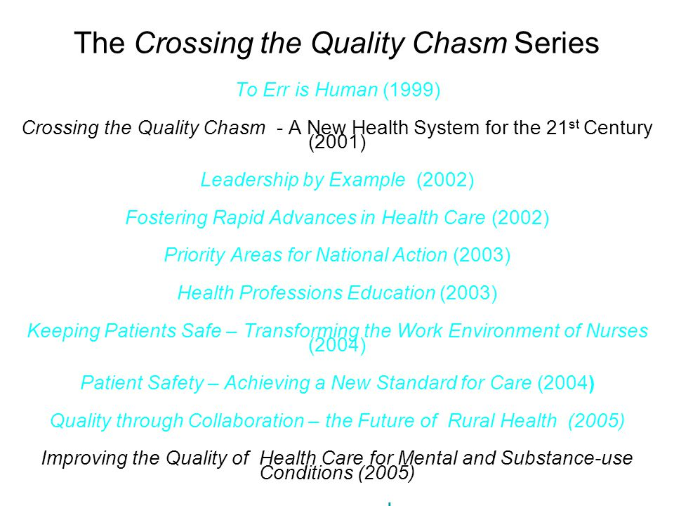 The Crossing the Quality Chasm Series