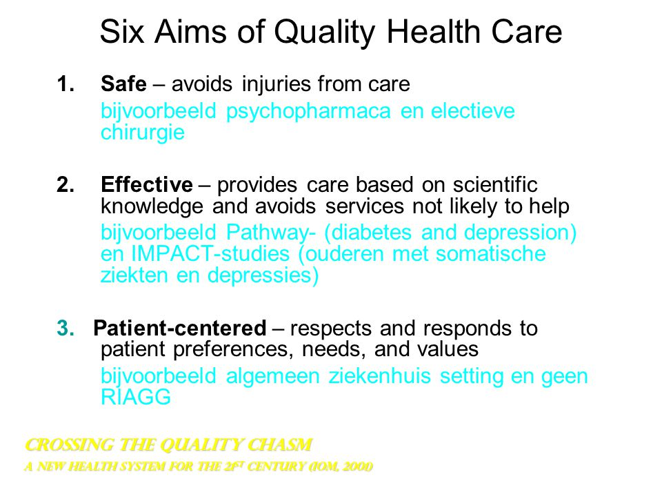 Six Aims of Quality Health Care