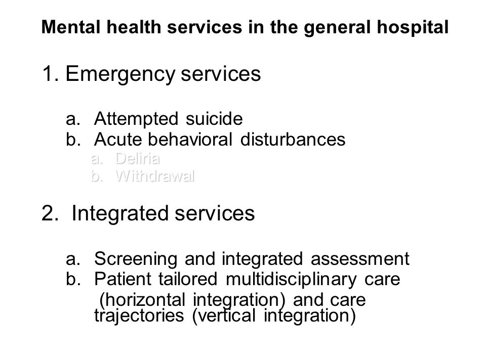Mental health services in the general hospital