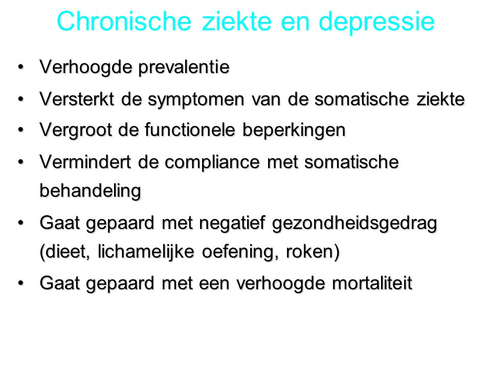 Chronische ziekte en depressie