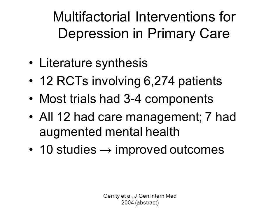 Multifactorial Interventions for Depression in Primary Care